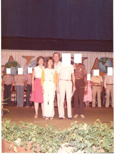 Charlene, 1983,  with Dr. & Mrs. Victor Paul Wierwille at The Way International, New Knoxville, Ohio. On stage at the Rock of Ages annual festival with the Second Corps to celebrate 10 years of service since graduation, 1973.