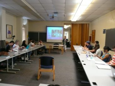 Charlene, 2011, at a Rollins College Religion class sharing her experience in The Way