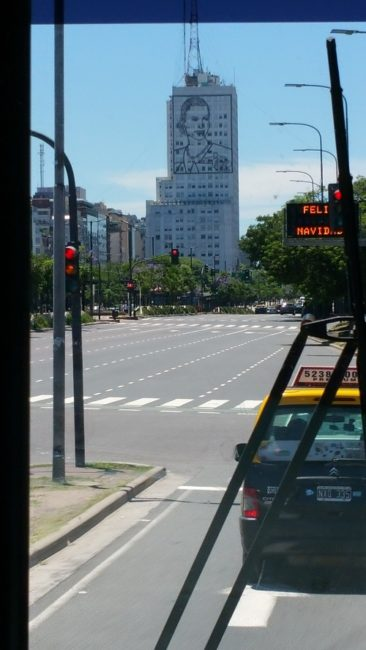 City of Buenos Aires. Eva Peron's sillouette on building.